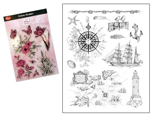 Viva Decor®️ Clear-Stamps (Am Meer) Silikon Stempel - Prägung Stempel - DIY Dekoration stanzen - Stempel Silikon - DIY Stamp - Stempel Prägung - Made in Germany