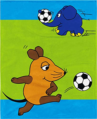 BERONAGE Die Sendung mit der Maus Decke Fußball Blau 130 cm x 160 cm Flanelldecke Fleecedecke Kuscheldecke zur Bettwäsche - Maus und Elefant - kuschelweich
