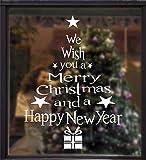 Tuopuda Stickers Finestra Natale Vetrofanie Lettera Albero di Natale Adesivi Natale Adesivi Porta Decorazione per finestre PVC Natale Wallpaper Fai da Te Addobbi Natalizi