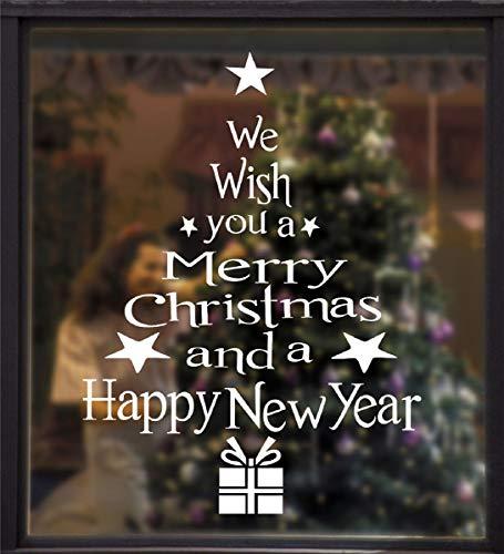 Tuopuda Weihnachtsbaum Buchstaben Fensterbilder Weihnachten Fenstersticker Fensteraufkleber Statisch Haftende PVC Weihnachten Fensterdeko Wandtattoo Glas Aufkleber Weihnachtsdeko für Fenster