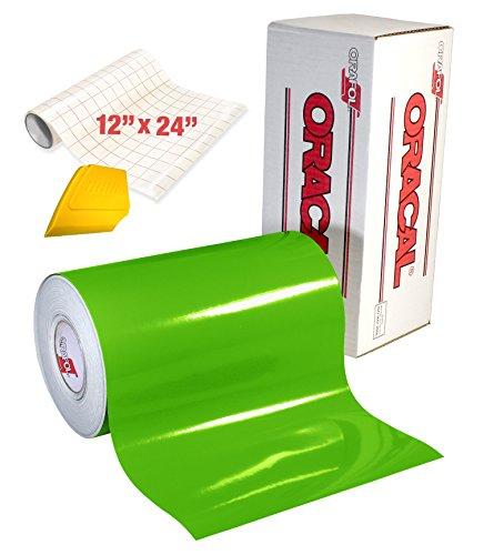 Oracal 651 Klebefolie, Hochglanz, Vinyl, 4,6 m x 30,5 cm, Rolle mit hartem Kernröhre, gratis 30,5 x 61 cm Rolle Transferpapier und hartem gelben Detailer-Rakel 15ft x 1ft Lime Tree Green