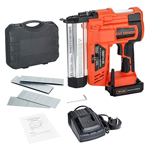 Cordless Staple/Nail Gun with Battery, King Showden 2 in 1 Cordless Electric Heavy Duty Stapler Nailer Tacker, 2,000mAh Li-ion Battery Operated for Home Improvement, Woodworking, Remodel Project