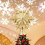 Christmas Tree Topper Lighted, Tree Topper with Rotating LED Projector ,Snowflake Tree...