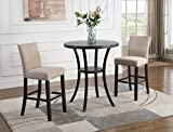 Roundhill Furniture Biony 3-Piece 36' Round Espresso Bar Table with Nail Head Stools, Tan