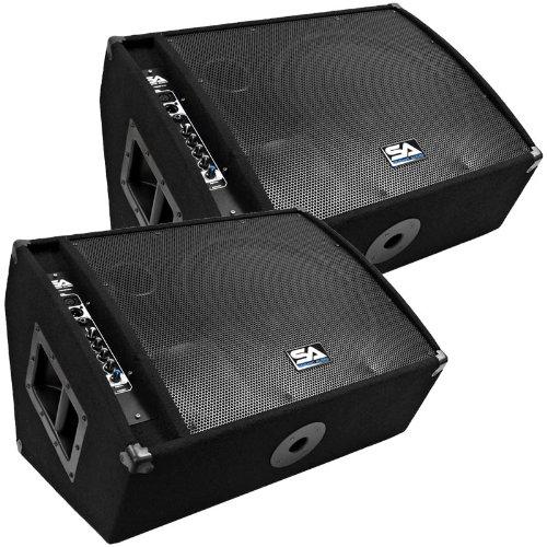 """Seismic Audio - FL-15MP-PW-Pair - Pair of Premium Powered 2-Way 15"""" Floor / Stage Monitors with Titanium Horns"""
