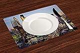 Manteles Individuales, Ciudad, arquitectura moderna del centro de Londres Centro de Finan,Mantel Individual Antideslizante Lavable Resistente Al Calor para Hoteles Restaurante Catering (Paquete de 4)