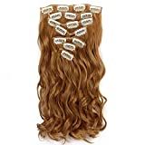 Neverland Beauty 22' Full Head Clip Extensión del pelo Hair Extensions,Wavy-7 Piece with 16 clips,Honey Blonde