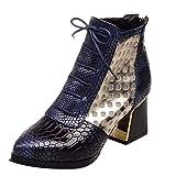 Botas Zapatos Flip Flop Mujer Botines de Moda Serpiente Tacones Altos Cortos Zapatos de Invierno Punta Estrecha Mujer Ciclismo Buena Compra Azul 39