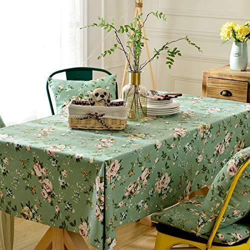 CFWL Pastoral Pure Cotton Tablecloth Country Pure Color Green Small Floral Fabric Tablecloth Tea Table Cloth Flowers And Birds Plastic Table Cloth White And Grey Table Cloth Green 140 * 220Cm