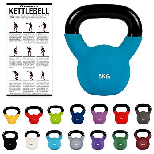 MSPORTS Kettlebell Neopren 2 – 30 kg inkl. Übungsposter (8 Kg - Blau) Kugelhantel