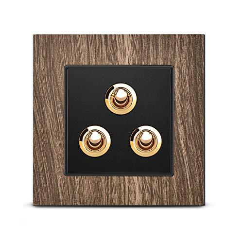 Ploutne Interruptor de la lámpara de pared 86 Interruptor del interruptor de la lámpara de pared 86 tipo palanca de latón retro de alto grado One abierto Control único Panel de zócalo de cinco orifici