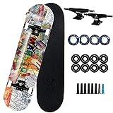 Skateboard Enfant Skateboard pour Enfants âgés de 6 à 12 Ans - 31'x 8' Remplissez Pro Skateboard - Double Kick Skateboards pour Adultes 7 Couche Canadian Maple Wood (Color : J)