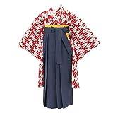 [京のみやび]ジュニア女の子着物袴セット 赤矢絣着物×紺無地袴 80cm