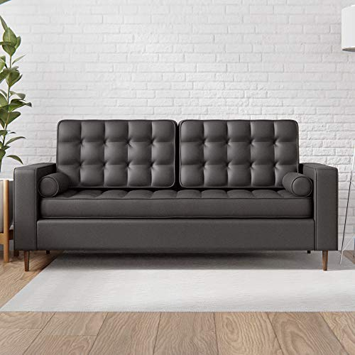 Edenbrook Lynnwood Upholstered Sofa with Square Arms and Tufting-Bolster Throw Pillows Included, Black Faux Leather