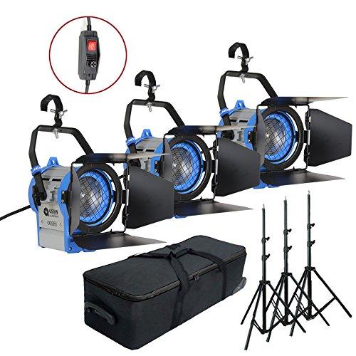 Alumotech Dimmer Built-in Fresnel Tungsten 3 x 650 Vatios + 3 x Aire amortiguado Stand 1950W Foco Halógena Lámpara Studio Video Kit de luz para la cámara fotográfica Iluminación Compatible Bulbo