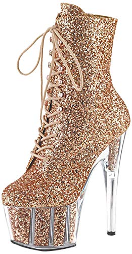 Pleaser ADORE-1020G Damen Glitter Plateau Stiefelette, Glitter Rose Gold, EU 38 (US 8)