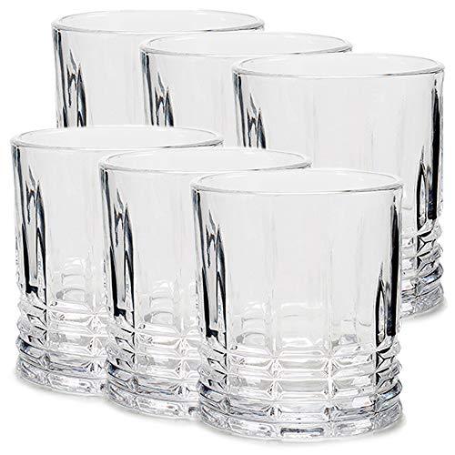 MGE - Juego de 6 Vasos de Whisky y Agua - Set de 6 Piezas para Degustación de Whisky - Vasos de Whisky Escocés - Vidrio - 6 x 310 mL