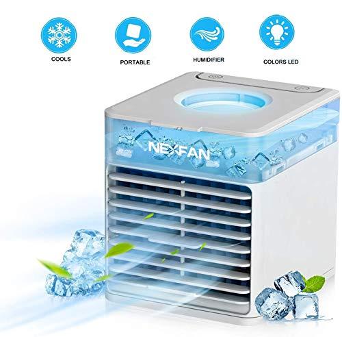 Enfriadores de aire portátiles, aire acondicionado portátil de enfriamiento rápido, mini ventilador USB con función de humidificación, ventilador de ahorro de energía con luz LED