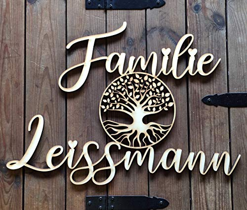 Personalisiertes Familienschild | Familiennamen mit Lebensbaum | ausgelasert aus Holz | Individuelles Geschenk der besonderen Art