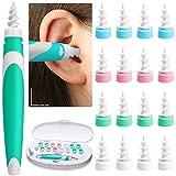 Ohrenreiniger, Q Grips Ohrenschmalz Entferner.Spirale Silikon mit 16 Waschbaren Spitzen, Sicher, Weich und Einfach zu Bedienen, Geeignet für Kinder, Jugendliche und Erwachsene