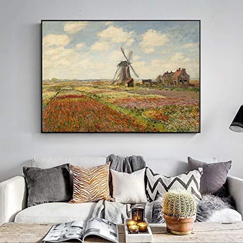 QWESFX Monet Windmühle und Tulpen Gemälde s An der Wand Impressionistische Landschaft Wohnkultur Kunst Leinwand Bilder (Drucken ohne Rahmen) B 40x60CM