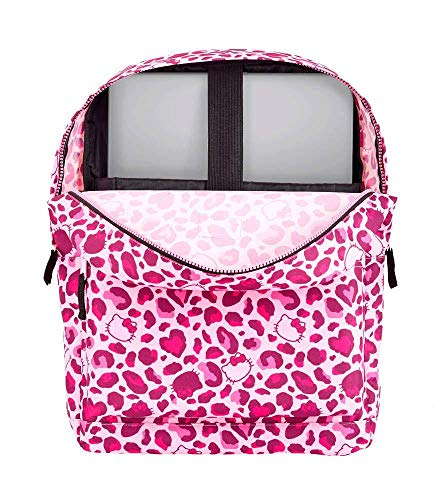Hello Kitty Leopard Mochila Grande con Funda Ordenador, Rosa, Unica