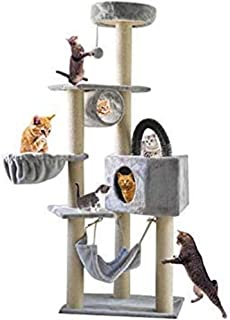 Gluckluz Cat Tree Pet Scratching Post Scratcher Tower Pillar Condo Basket Furniture Perch Hammock Hemp Rope Pet Scratch with Hanging Toy for Satisfing Kitten's Natural Scratching Instincts (Grey)