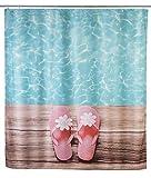 WENKO 22191100 Duschvorhang Hawaii, waschbar, mit 12 Duschvorhangringen, Polyester, 200 x 180 cm, Mehrfarbig
