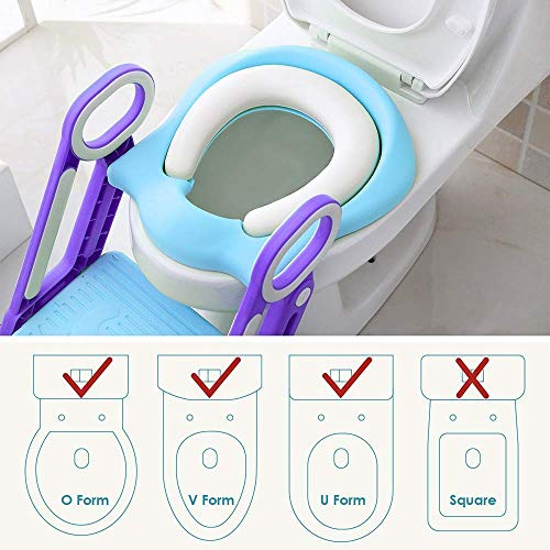 Potty Training Seat Toilet Ladder for Toddler Boys Girls,Adjustable Kids Toilet Training Seat-Blue