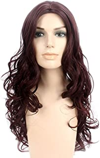 Fashian Wine Red Personality Long Curly Hair Full Wig Half Hand Tied Heat Safe Cosplay Daily Dress DIY Fun (Color : Wine red)