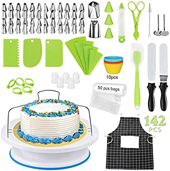 142-Pieces Jenseits Cake Decorating Kit with Turntable Cake Stand