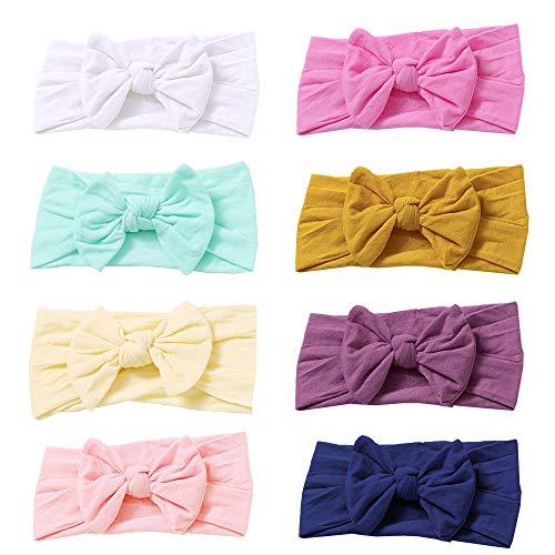 8 PCS Baby Nylon Headbands Hairbands Hair Bow Elastics for Baby Girls Newborn Infant Toddlers Kids