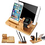 MOOZO Bamboo Wood Multi-Device Desktop Charging Dock Station Charger Holder Cradle Charge Stand Compatible iPhone X 8 7 6 6S Plus Apple Watch 2 3 4 / iWatch Samsung Galaxy S8 S7 S6 Edge Smartphones