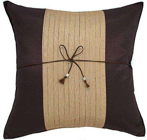 narphosit 40,6x 40,6cm Crepe gestreift Überwurf Kissenbezug Dekorative Sofa Couch Kissenbezug, Seide, braun / gold, 16x16