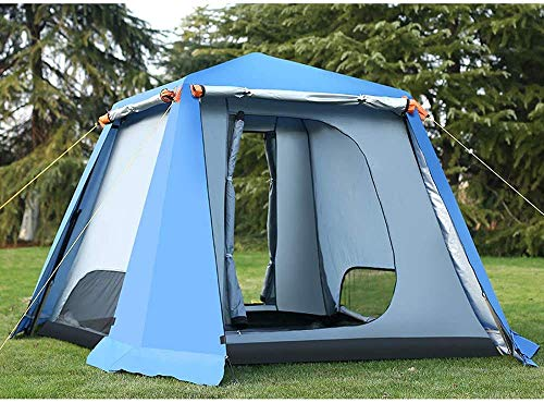 YANG 2×2m Outdoor Tents 4-6 Man Waterproof Double Layer Canopy Garden Gazebo Instant Tent Camping Sun Shelter for All Seasons,Blue