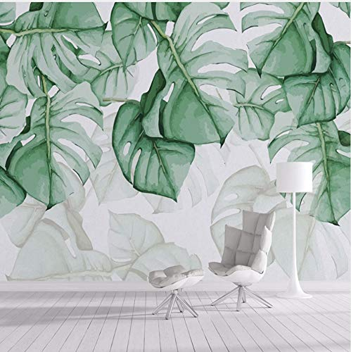 Guyuell Benutzerdefinierte Fototapete 3D Handgemalte Leinwand Ölgemälde Tropische Pflanzen Grünes Blatt Wohnzimmer Schlafzimmer Wohnkultur Wandbild-200Cmx140Cm