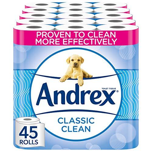 Andrex Toilet Roll - Classic Clean Toilet Paper, 45 Toilet Rolls
