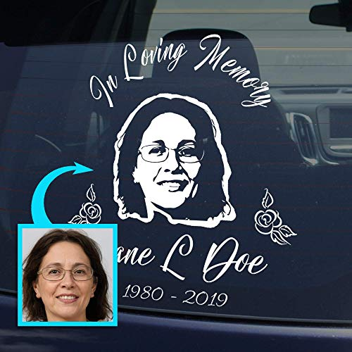 Photo Memorial Decal for Cars and Trucks | Personalized Unique In Loving Memory Sticker for your Car or Truck Window