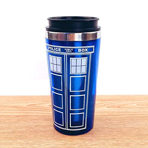 Kreative Tasse Freies Verschiffen Doctor Dr. Who Tardis Kaffeetasse Edelstahl Innen Thermobecher Thermobecher Thermobecher 450 MlQualität