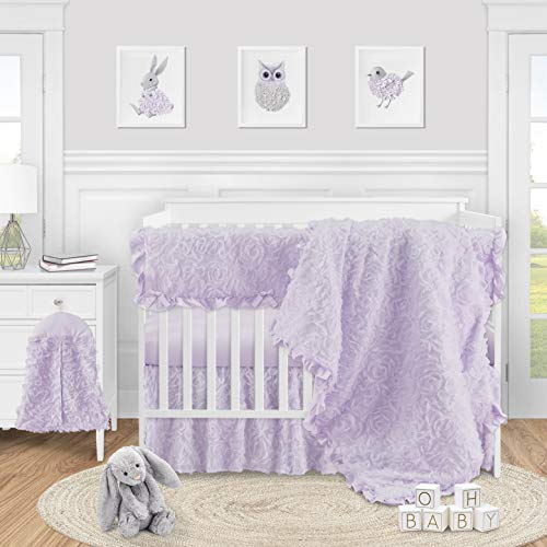 Sweet Jojo Designs Purple Floral Rose Baby Girl Nursery Crib Bedding Set - 5 Pieces - Solid Light Lavender Flower Luxurious Elegant Princess Vintage Boho Shabby Chic Luxury Glam High End Ruffle Roses