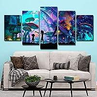 BOYH 5 Piezas Impresiones en Lienzo,Rick y Morty Cuadro de Arte de Pared de Pintura Moderna para Sala de Estar decoración del hogar,B,30×50×2+30×70×2+30×80×1