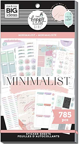 The Happy Planner Sticker Value Pack - Scrapbooking Supplies - Minimalist Theme - Multi-Color - Great for Projects, Scrapbooks & Albums - 30 Sheets, 785 Stickers Total
