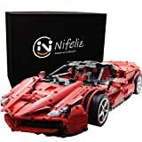 Nifeliz Hyper Car LaFer Red MOC Building Blocks and Engineering Toy, Adult Collectible Model Cars Kits to Build, 1:8 Scale Race Car Model (3260 Pieces)