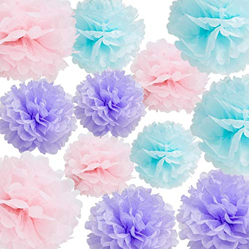 HappyField Unicorn Party Decorations Unicorn Birthday Party Baby Shower Wedding Decorations 12PCS 10inch 12inch Light Pink Blue Lavender Tissue Pom Poms Flower Paper Decorations Unicorn Party Supplies