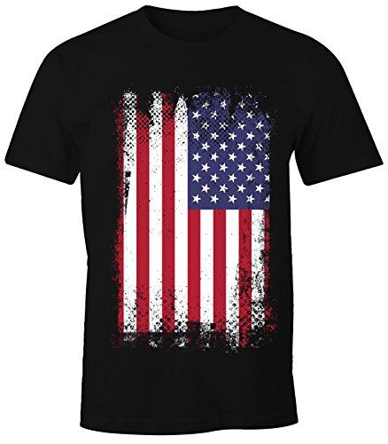 MoonWorks Herren T-Shirt - Amerika Flagge USA Flag United States of America - Comfort Fit schwarz M