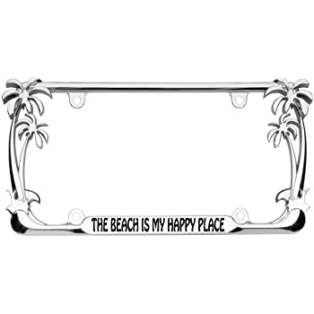 DMSE Pink Palm Tree Beach Theme Universal Metal License Plate Frame Cool Decorative Design For Any Vehicle Pink