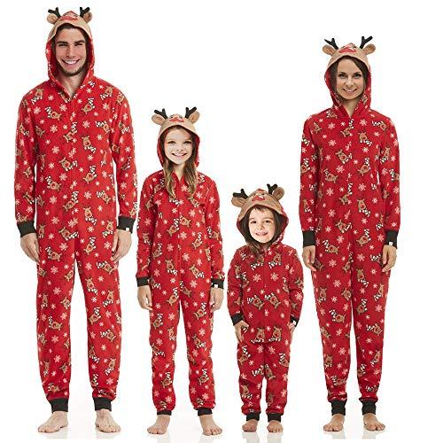 Multitrust Family Matching Christmas Pajamas Set Sleepwear Jumpsuit Hoodie with Hood for Family (Kids, 4T)