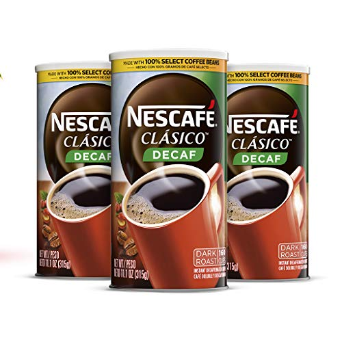 Nescafé Clasico, Decaf Dark Roast Instant Coffee, 11.1 oz. Resealable Canister, 3 Pack (480 cups total)