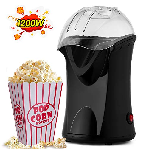 Best Price Popcorn Maker, 1200W Hot Air Popcorn Popper Healthy Machine No Oil Needed Fast and Durabl...