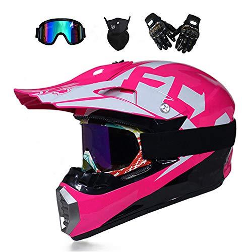 TKGH Motocross Helm mit Visier Brille Handschuhe Maske, Full Face Motorrad-Helm für Off-Road Enduro Schutzhelm Moped ATV BMX Sport...